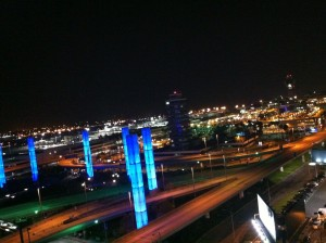 View at the LAX from the Radisson Hotel at night